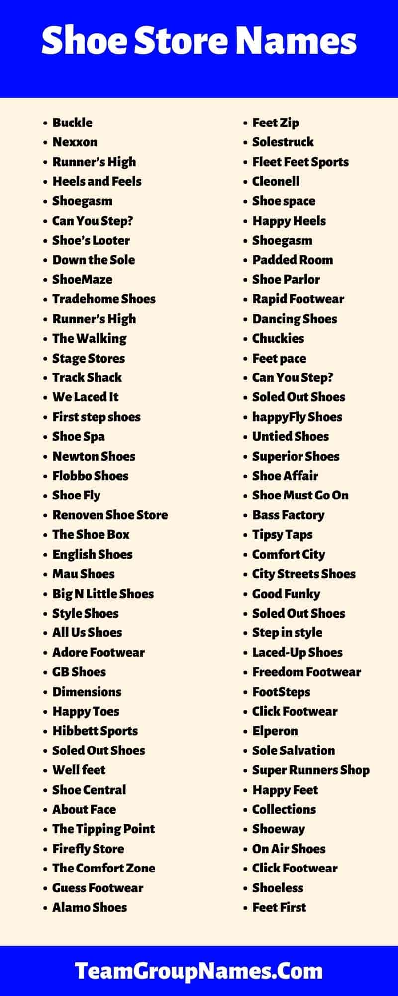 Shoe Store Names