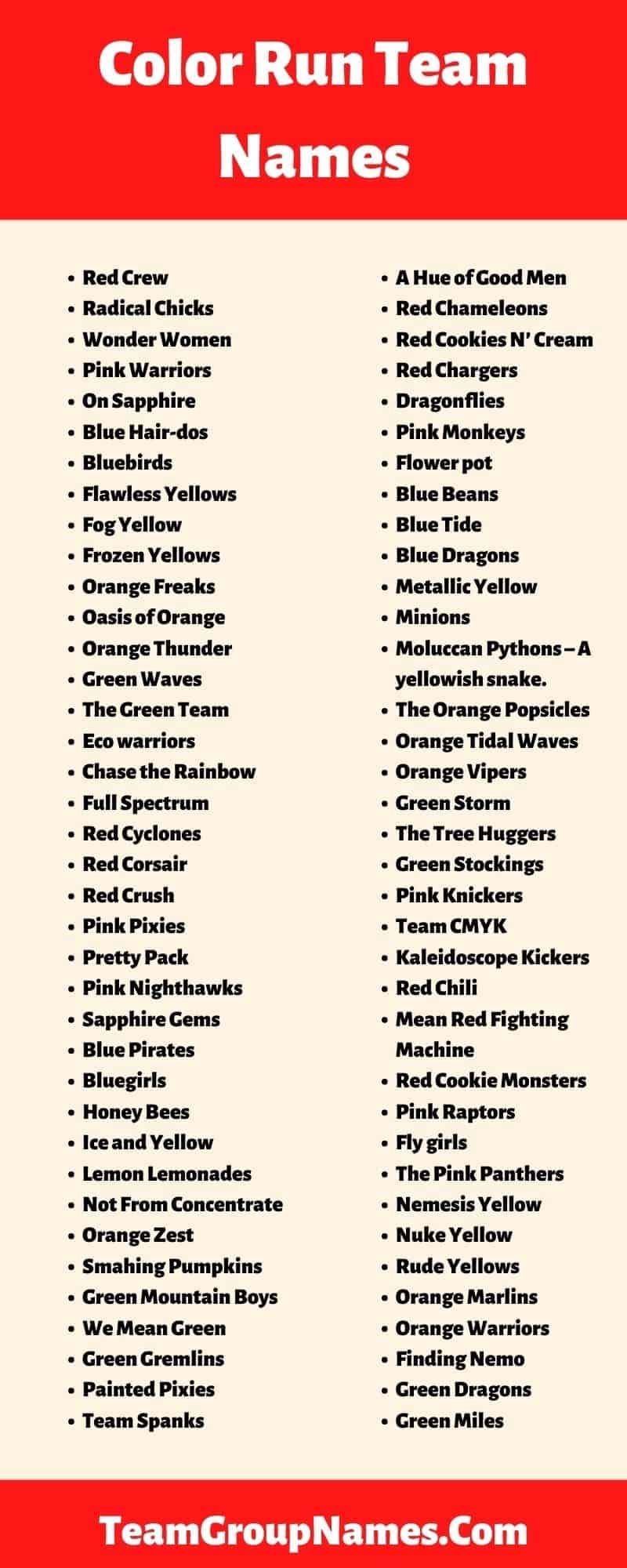 Team Names For Color Run